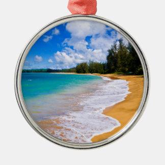 Paradis tropical de plage, Hawaï Ornement Rond Argenté