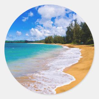 Paradis tropical de plage, Hawaï Sticker Rond