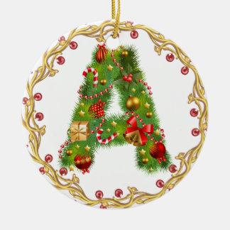 parafez l'ornement décoré d'un monogramme de Noël Ornement Rond En Céramique
