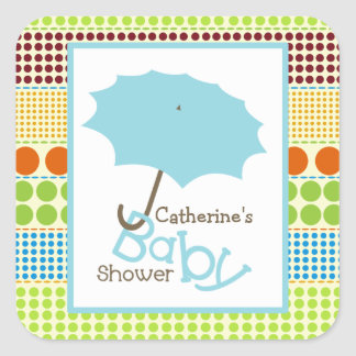 Parapluie de baby shower et points bleus de Boho Autocollant Carré