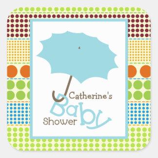 Parapluie de baby shower et points bleus de Boho Sticker Carré