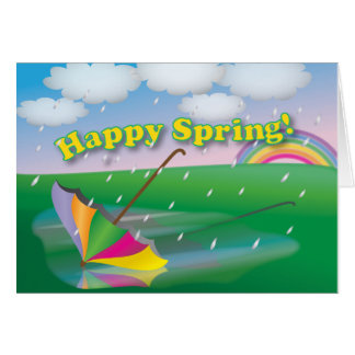 Parapluie de printemps - carte de voeux