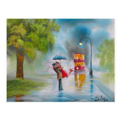 Parapluie romantique de couples de tram rouge de j carte postale