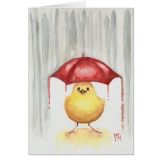 Parapluie rouge heureux carte de vœux