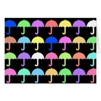 Parapluies colorés carte de vœux