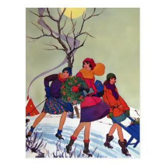 Parc de Brookmont illustration de Noël des années Carte Postale