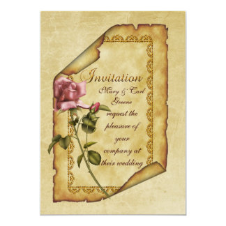 Parchemin de rose de rose carton d'invitation  12,7 cm x 17,78 cm