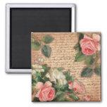 Parchemin vintage et roses chics minables magnet carré