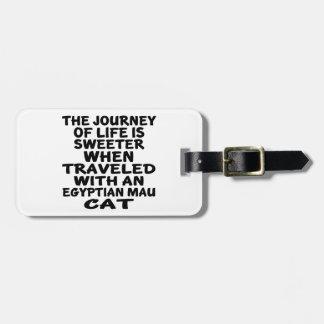 Parcouru avec le chat de Mau d'Egyptien Étiquette À Bagage