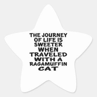 Parcouru avec le chat de va-nu-pieds sticker étoile