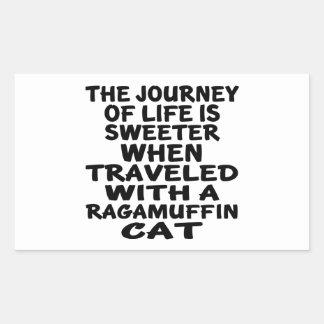 Parcouru avec le chat de va-nu-pieds sticker rectangulaire