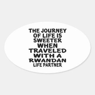 Parcouru avec un associé rwandais de la vie sticker ovale