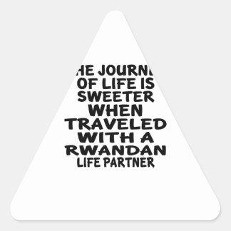 Parcouru avec un associé rwandais de la vie sticker triangulaire