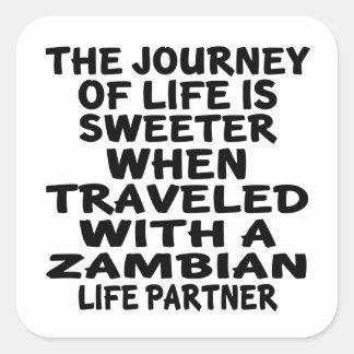 Parcouru avec un associé zambien de la vie sticker carré