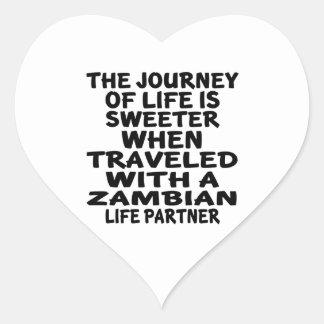 Parcouru avec un associé zambien de la vie sticker cœur