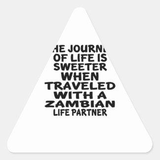 Parcouru avec un associé zambien de la vie sticker triangulaire