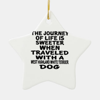 Parcouru avec une vie P de Terrier blanc de Ornement Étoile En Céramique