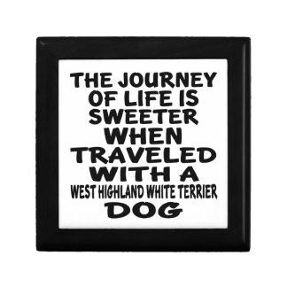 Parcouru avec une vie P de Terrier blanc de Petite Boîte À Bijoux Carrée