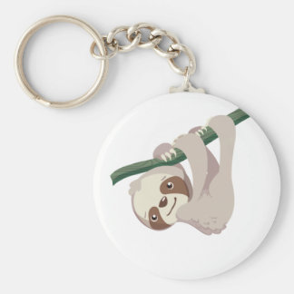 Paresse mignonne de bébé sur une branche porte-clés