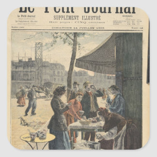 Paris à six heures pendant le matin sticker carré