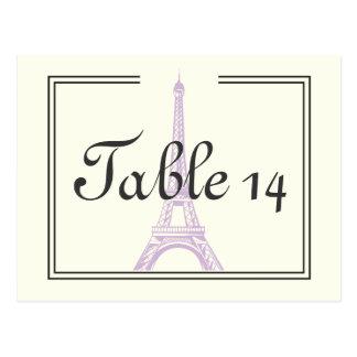 Paris épousant le nombre pourpre de table de Tour Cartes Postales