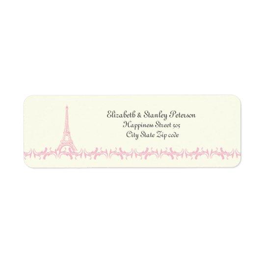 Paris épousant l'étiquette en ivoire de Tour Étiquettes D'adresse Retour