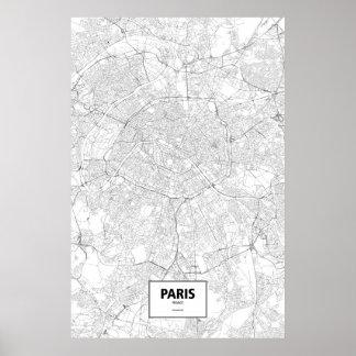 Paris, France (noir sur le blanc) Posters