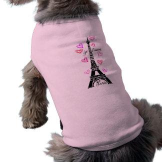 PARIS JE T'AIME EIFFEL ET COEURS ROSES T-SHIRT POUR CHIEN