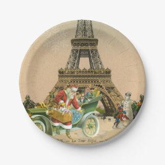 Paris Père Noël et plaque à papier de Noël de Assiettes En Papier