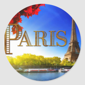 Paris sur la Seine Adhésifs Ronds