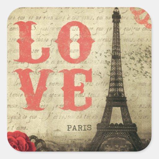 Paris vintage sticker carré