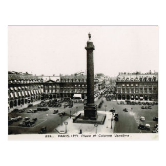 Paris vintage, endroit Vendome Carte Postale