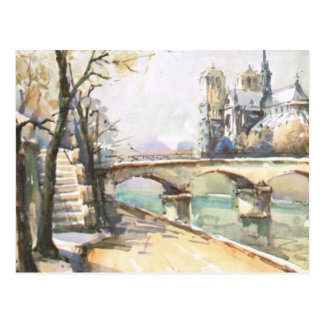 Paris vintage Notre Dame La la Seine Carte Postale