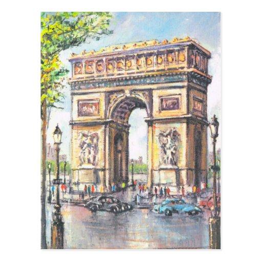 Paris vintage, Paris Arc de Triumphe, Carte Postale