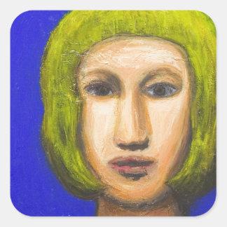 Parisienne avec une coupe de cheveux de plomb sticker carré