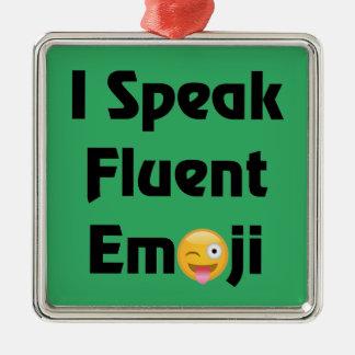 Parlez Emoji fluide Ornement Carré Argenté