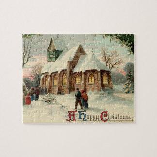 Paroissiens vintages d'église de Noël à la masse Puzzle