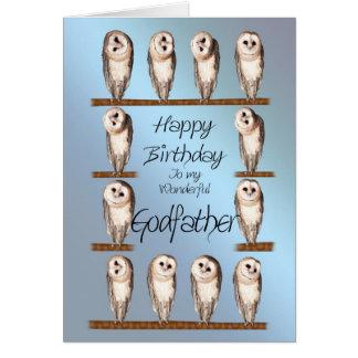 Parrain, carte d'anniversaire curieuse de hiboux