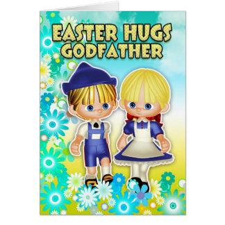 Parrain - carte de Pâques, deux enfants en fleurs