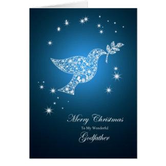 Parrain, colombe de carte de Noël de paix