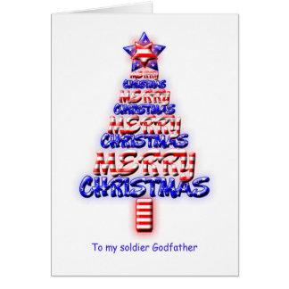 Parrain de soldat, arbre de Noël patriotique Cartes De Vœux