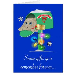Parrain : Lapin de surprise de Noël dans la boîte Carte De Vœux