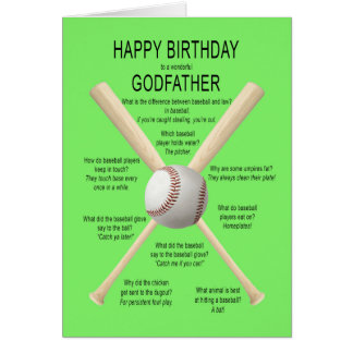 Parrain, plaisanteries de base-ball d'anniversaire cartes