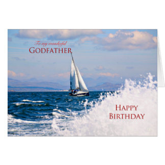 Parrain, une carte d'anniversaire de yacht de