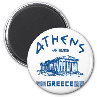 Parthenon - Athènes - Grec (bleu) Magnet Rond 8 Cm