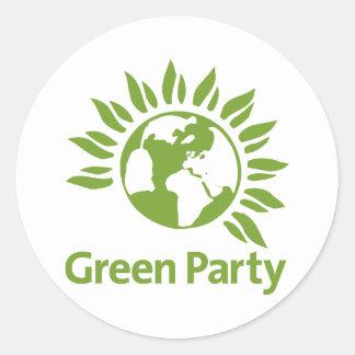 Parti Vert de l'Angleterre et du Pays de Galles Adhésif Rond
