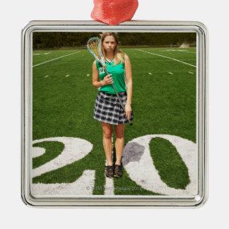 Participation du joueur de lacrosse de lycée ornement carré argenté