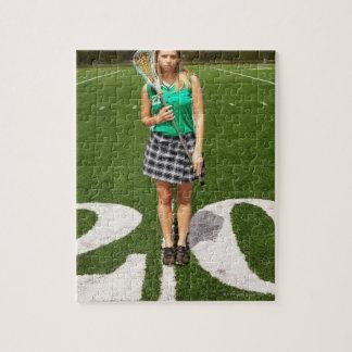 Participation du joueur de lacrosse de lycée puzzle