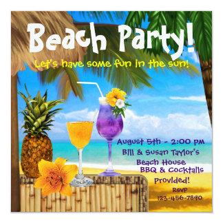 Partie adulte de plage de cocktails de palmier carton d'invitation  13,33 cm