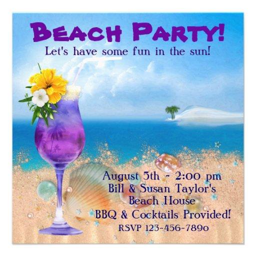 Partie adulte de plage de cocktails de palmier invitations